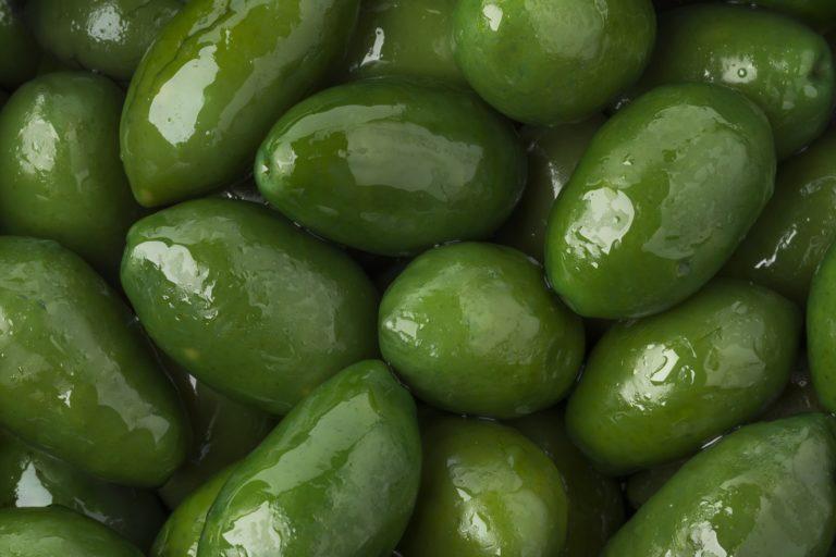 Green Italan Bella olives full frame